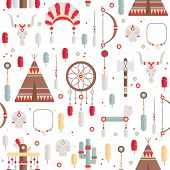Seamless pattern of vector colorful ethnic set with dream catcher, feathers, arrows and american ind