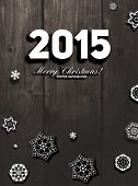 2015 Origami Happy New Year Greeting Card. Wood Background. Paper Snowflakes.