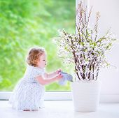 Little Girl Watering Flowers At Home