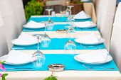 Beautiful Tables With Kitchenware In A Summer Cafe