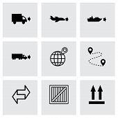 Vector black logistic icons set