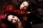 stock photo of brunette hair  - red hair and brunette woman with hair in motion studio shot - JPG