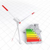 Energy Efficiency Home Puzzle And Wind Turbine