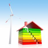 Energy Efficiency House And Wind Turbine