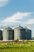 picture of silos  - Industrial Silos In The Fields - JPG