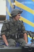 KIEV, UKRAINE - AUG 24, 2014.Ukrainian troops during President Poroshenko Victory parade in downtown