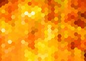 stock photo of honeycomb  - Abstract vibrant bright orange hexagons honeycomb background - JPG