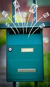 stock photo of mailbox  - Hand drawn letters and envelopes comming out of a mailbox - JPG
