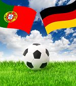 Football Field And National Flags Of Germany And Portugal