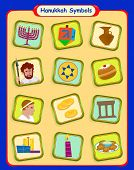 picture of hanukkah  - Colorful set of twelve Hanukkah symbols - JPG