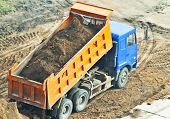 image of dumper  - above view of classic laden dump truck - JPG