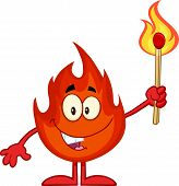 Happy Fire Cartoon Mascot Character Holding Up A Flaming Match Stick