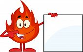 Flame Cartoon Mascot Character Showing A Banner Sign