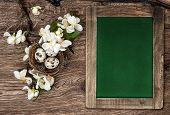 Chalkboard, Flowers And Easter Nest With Eggs
