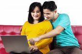 Pregnant Lady And Husband Using Laptop