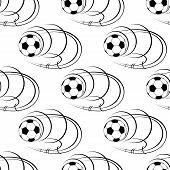 Seamless pattern of football or soccer balls