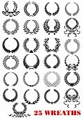 Laurel wreaths heraldic set