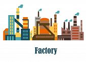 Factory and plant buildings in flat style