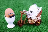 Eggs in egg cup and on bicycle on green background