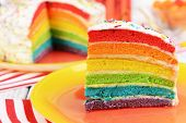 Delicious rainbow cake on plate on table on bright background