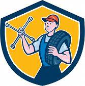 Mechanic With Tire Wrench Shield Cartoon