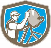 Tv Satellite Dish Installer Shield Retro