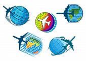 Airplane and air travel icons with globe