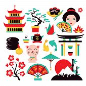 stock photo of traditional  - Japan symbols set with traditional food and travel icons isolated vector illustration - JPG