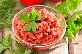 Tomato Sauce With Pepper, Onion And Parsley In Glass Bowl