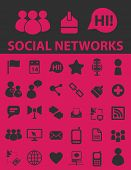 social networks, blog icons, illustrations, signs, silhouettes set, vector