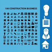 black factory, real estate, construction, business icons, illustrations, signs, symbols set, vector