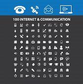 100 internet, communication, connection icons, illustrations, signs, symbols set, vector