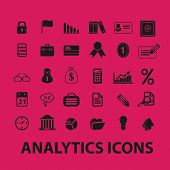 analytics icons, illustrations, signs, silhouettes set, vector