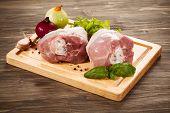 pic of turkey-hen  - Raw turkey legs on cutting board - JPG