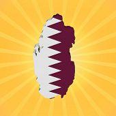 Qatar map flag on sunburst illustration