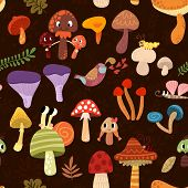 Seamless pattern with colorful forest mushrooms