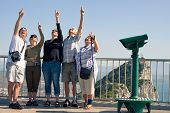 image of gibraltar  - Portrait of happy excited tourists people on the Rock of Gibraltar - JPG
