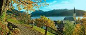 Beautiful View To Schliersee Village In Autumn