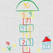 stock photo of hopscotch  - Doodle illustration with hopscotch  and house over asphalt - JPG