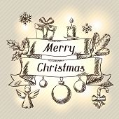 Merry Christmas hand drawn invitation card template.