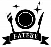 Kitchen Ware On Black Eatery Symbol