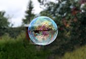 Flying Soap Bubble Reflecting Village House