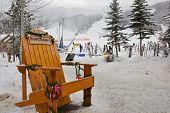 Panorama, Canada - December 25, 2013: Skiing at Mountain Ski Resort in Canada