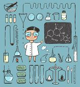 Young Girl Chemist and Laboratory Tools Collection