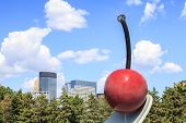 image of garden sculpture  - Cherry sculpture in Minneapolis garden Minnesota USA - JPG