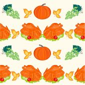 Seamless Texture Food Turkey With Pumpkin And Grapes Vector
