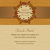 Autumn or summer invitation, brown and beige