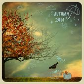 Fall Tree Poster - Instagram style autumn poster, with autumn tree and doodles, including clouds, ra