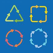 Colorful arrow shape icons in different colors