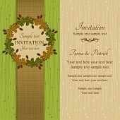 Autumn or summer invitation, green and beige